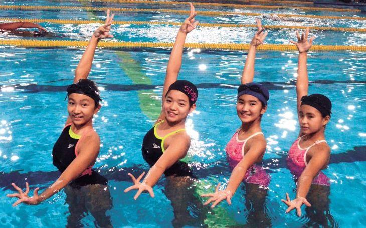 沖縄のシンクロ4人娘は小中生 小...