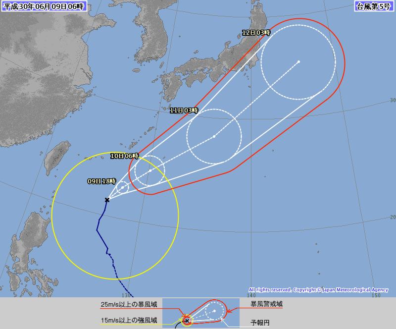 台風12号2018 たまご 米軍 進路予想図 関東東海近 …