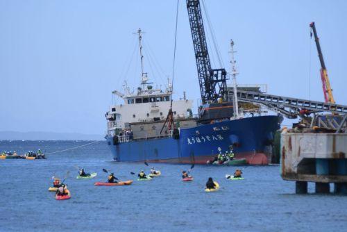 【辺野古】「米国のやりたい放題だ」 市民100人が新基地建設に抗議 カヌーも14艇が海上で抗議 ->画像>25枚