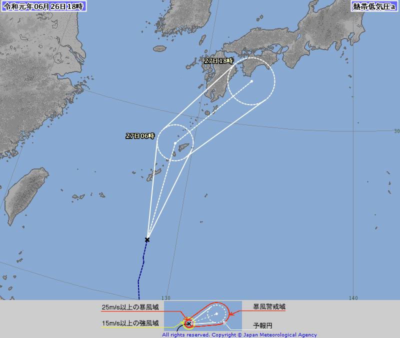 熱帯低気圧 26日深夜沖縄接近 27日中に台風に